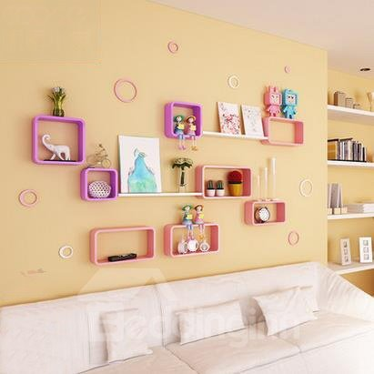 Fantastic Pretty 3-Set Wood Wall Shelves with Free Wall Stickers