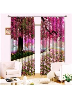 Wonderful Trees Colorful Flowers Light Blocking 3D Curtain