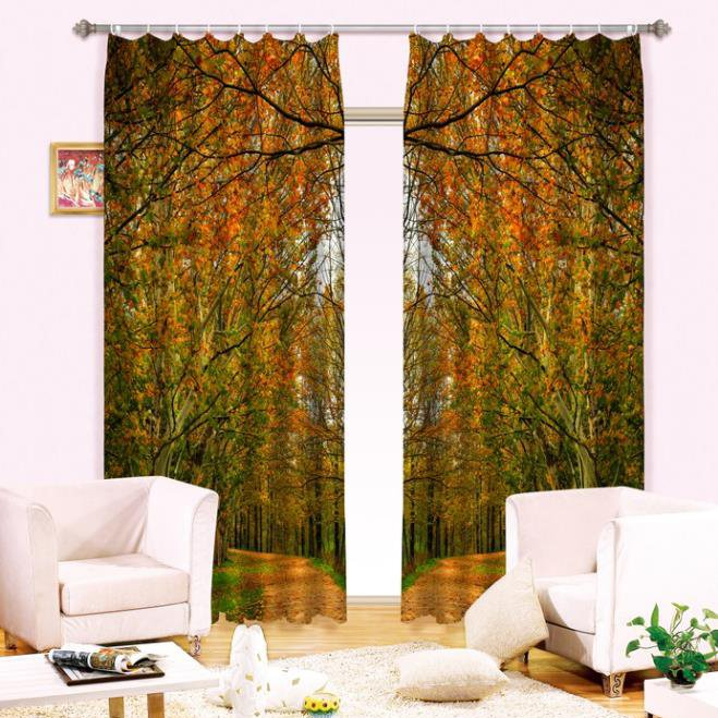 Amazing Thick Forest Printed Light Shading 3D Curtain