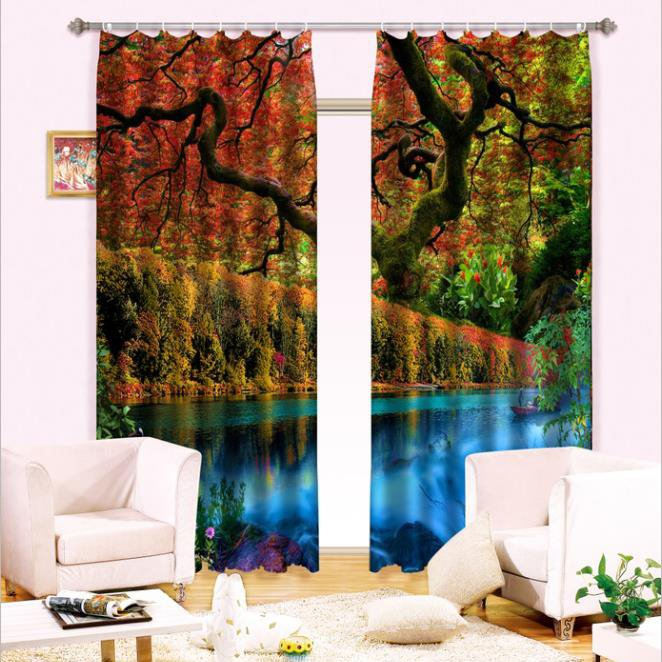 Amazing Trees Clean Water Printed Light Shading 3D Curtain