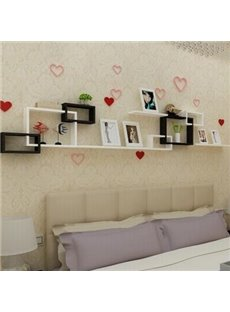 Classic White and Black 1-Set Wood Wall Shelves