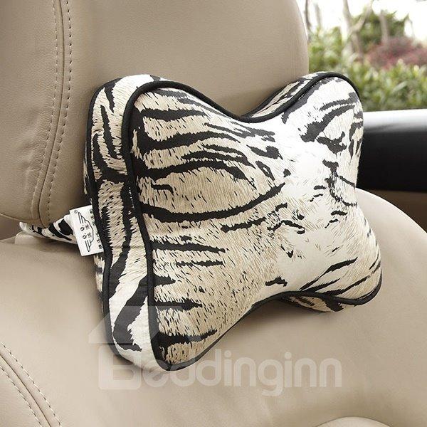 Tiger Strips Bone Shape 2-Piece Car Neckrest Pillows