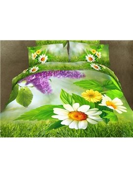 White Flower and Green Grass Print 4-Piece Polyester Duvet Cover Sets
