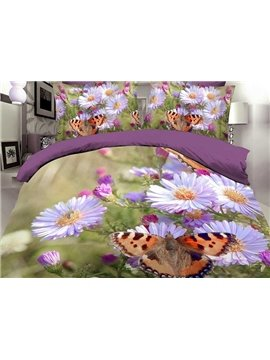 Butterfly and Daisy Print 4-Piece Polyester Duvet Cover Sets
