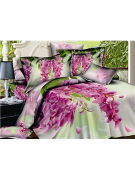 Pink Flos Sophorae Print 4-Piece Cotton Duvet Cover Sets