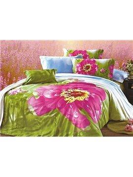 Luxury Big Dewy Flower Print 4-Piece Cotton Duvet Cover Sets