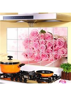 Wonderful Pretty Roses Pattern Kitchen Decorative Wall Stickers