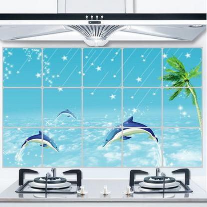 Popular Dolphin Beach Wall Stickers for Kitchen Decoration