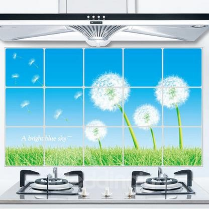 Fantastic Dandelion  Aluminum Foil Oil Proof Kitchen Hearth Removable Wall Stickers