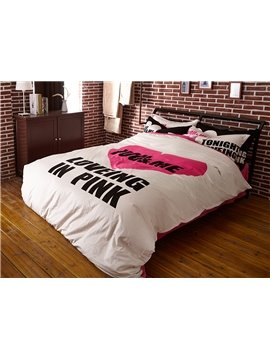 Loving in Pink with White Ground Print 4-Piece Coral Fleece Duvet Cover Sets