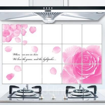 Romantic Pink Flowers Kitchen Hearth Removable Wall Stickers