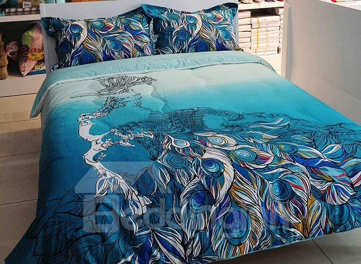 Great Peacock Feather Print 4-Piece Cotton Duvet Cover