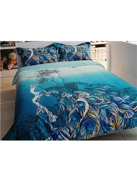 Great Peacock Feather Print 4-Piece Cotton Duvet Cover Sets