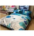 Beautiful Girl and Butterfly Print 4-Piece Cotton Duvet Cover Sets