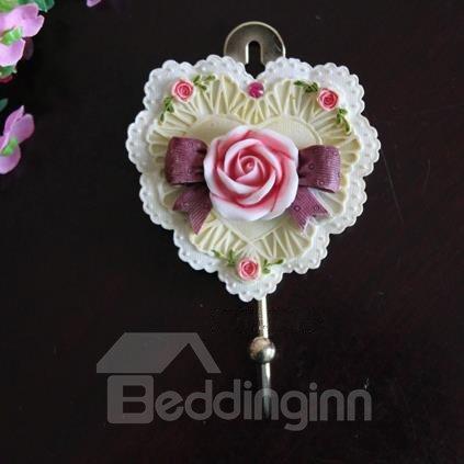 Pretty Heart Shape Resin Rose Wall Hook