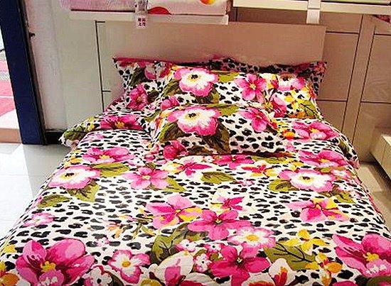 Leopard and Pink Flower Print 4-Piece Cotton Duvet Cover Sets