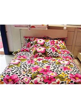 Leopard and Pink Flower Print 4-Piece Cotton Duvet Cover Sets