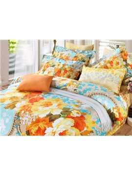 Bright Orange Garden Print 4-Piece Cotton Duvet Cover Sets