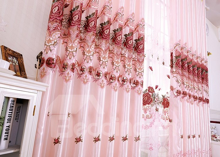 Elegant Pink Color Embroidery Custom Grommet Top Curtain
