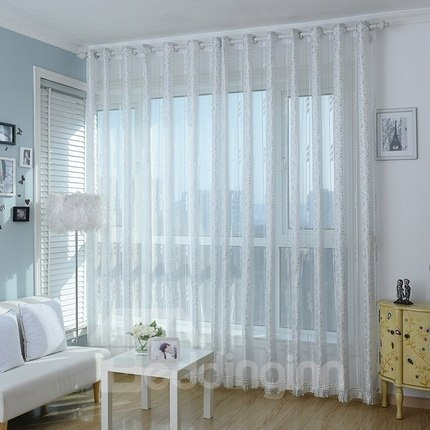 Elegant Fresh Light Gray Plant Pattern Custom Sheer Curtain