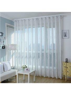 Elegant Fresh Light Gray Plant Pattern Custom Sheer Curtain