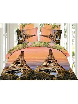 Eiffel Tower and Tree Print 4-Piece Polyester Duvet Cover Sets