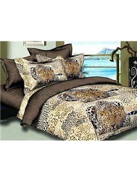 The Hunting Leopard Print 4-Piece Polyester Duvet Cover Sets