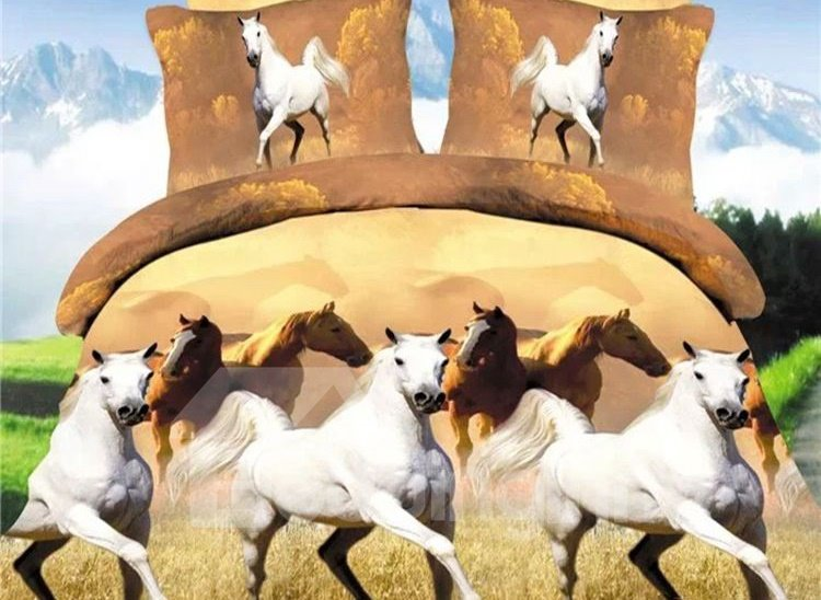 Inspiring Running Horse Print 4-Piece Polyester Duvet Cover Sets