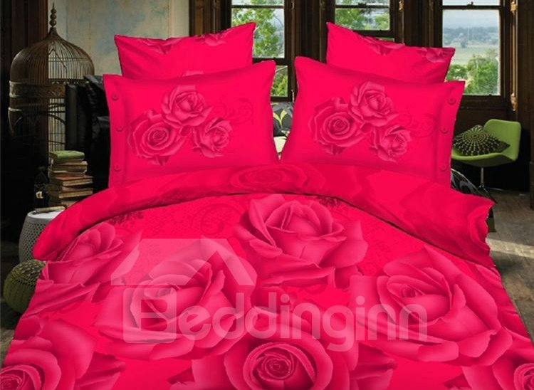Romantic Red Rose Print 4-Piece Polyester Duvet Cover Sets 11323008