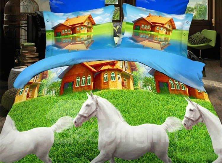 Pretty White Horse Print 4-Piece Polyester Duvet Cover Sets