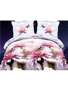 Delicate Pink Flower and Butterfly Print 4-Piece Polyester Duvet Cover Sets