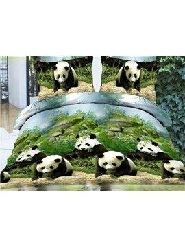 Lovely Panda on Riverbank Print 4-Piece Polyester Duvet Cover Sets