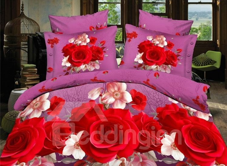Vivid Red Rose Print 4-Piece Polyester Duvet Cover Sets 11323018