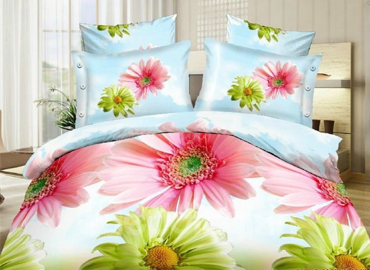 Pink and Green Daisy Flower Print 4-Piece Polyester Duvet Cover Sets