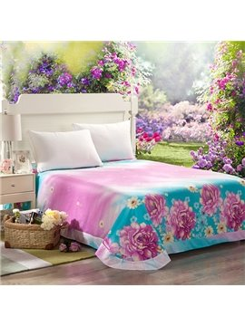 Flowing Light and Color Flowers Printing Cotton Printed Sheet