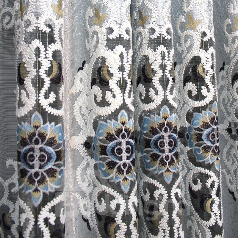 European Style Luxury Exquisite Design Jacquard Grommet Top Curtain