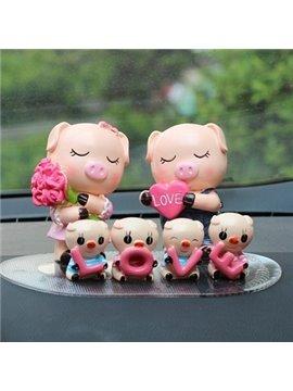 Six Cute Pigs Love Family Resin Car Decor