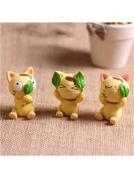 Lovely No Look No Listen No Speak Resin Cats Creative Car Decor