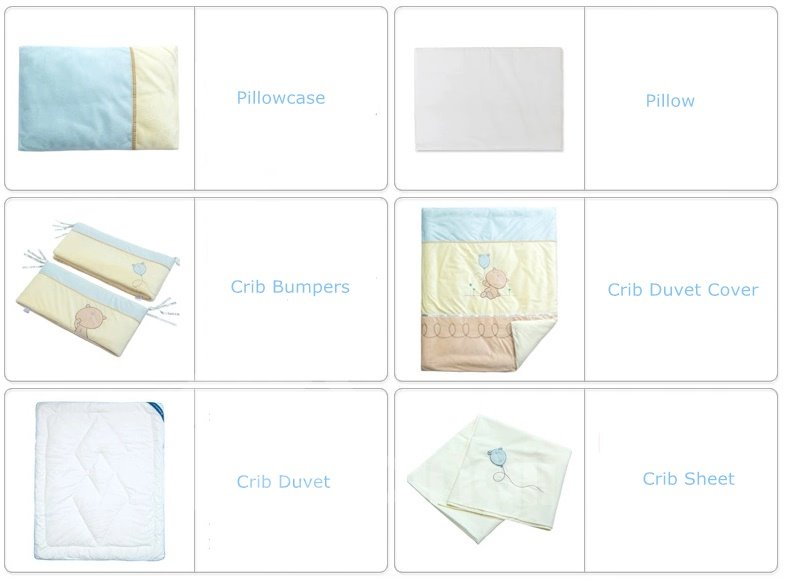 Cute Bear Soft Flannel 7-Piece Crib Bedding Sets