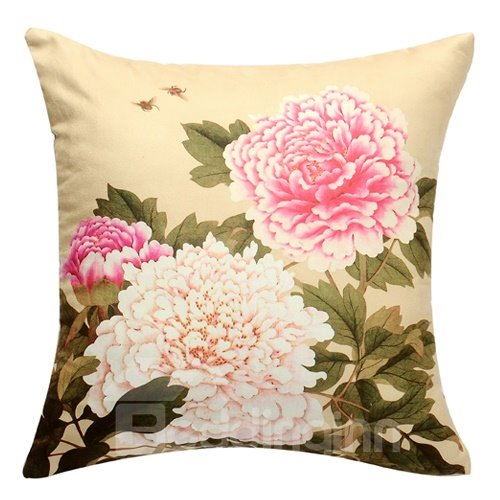 Environmental and Skincare Gorgeous Flowers Suede Nap Pillowcase