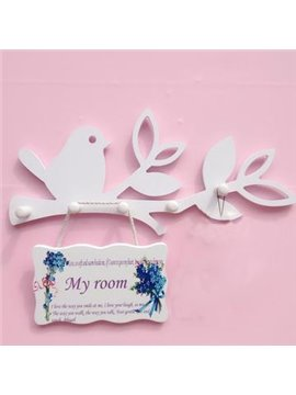 Fantastic Wood Plastic Plate Birds Wall Hook with No Door Plate
