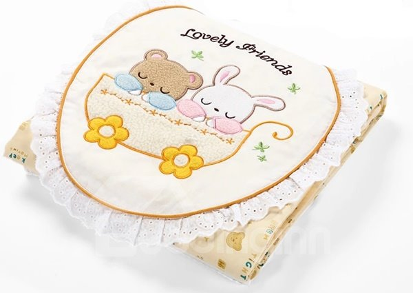 Cute Rabbit and Bear Cotton Baby Quilt