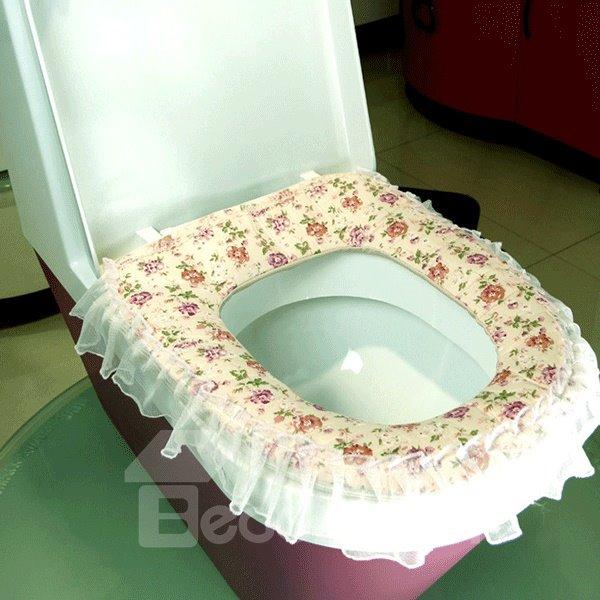 Rural Cute  Fabrics Lace Zipper Warmth Toilet Seat Cover