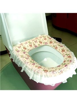 Rural Cute  Fabrics Lace Zipper Warmth Toilet Seat Cover