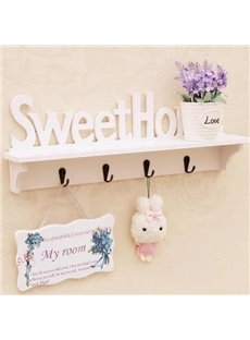 Fantastic Wood Plastic Plate Wall Shelves with Hooks