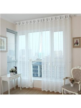 Contemporary Solid White Living Room & Bedroom Custom Sheer Curtain