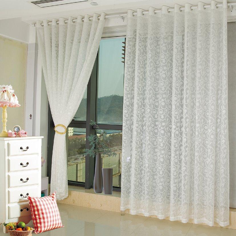 Modern fashion beige living room bedroom custom sheer - Beige and white bedroom curtains ...