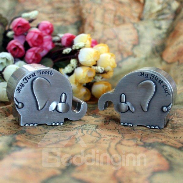 Elephant Shape Zinc Alloy Baby First Teeth and Curl Keepsake Box