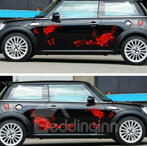 Butterflies And Flowers Car Body Creative Stickers