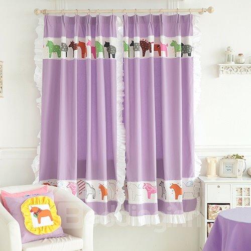 Purple Little Horses Design Kid